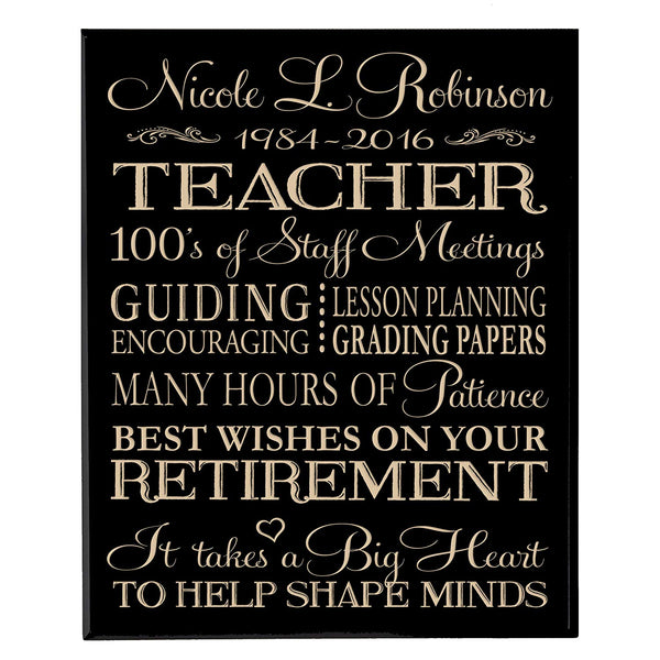 LifeSong Milestones Plaque Personalized Retirement Teacher Gift ideas Congratulations on your Retirement Thank you for your years of service