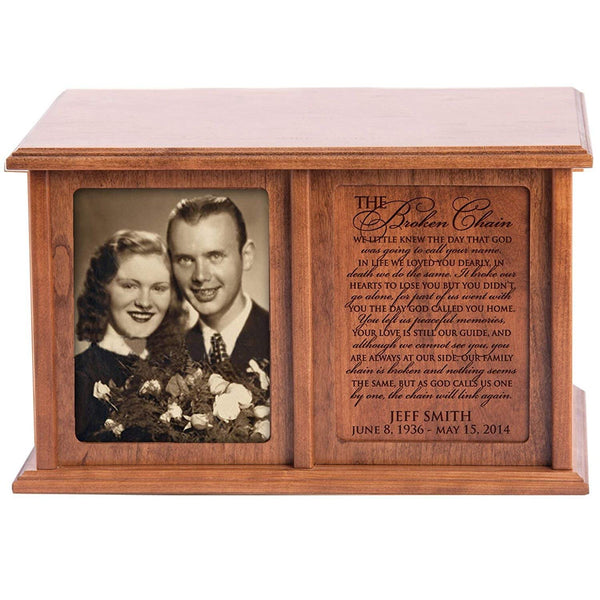 Companion Urns for Humans Ashes Personalized Engraved Double Keepsake Urn for 2 adultsThe Broken Chain Verse C0803422herry Wood For home or Columbarium Niche