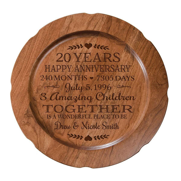 "Personalized 20th Wedding Anniversary Plate Gift for Her, Happy 20 Year Anniversary for Him, 12"" D Custom Engraved for Husband or Wife by LifeSong Milestones USA Made"