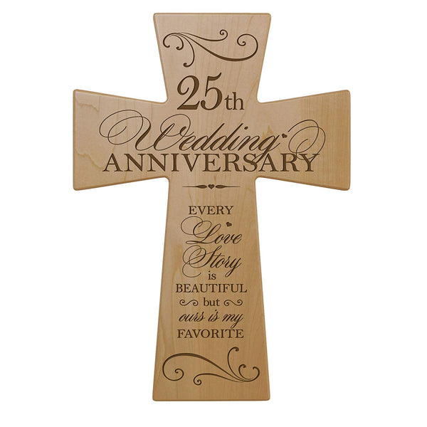 25th Wedding Anniversary Maple Wood Wall Cross Gift for Couple, 25 year Anniversary Gifts for Her, Twenty-fifth Wedding Anniversary Gifts for Him