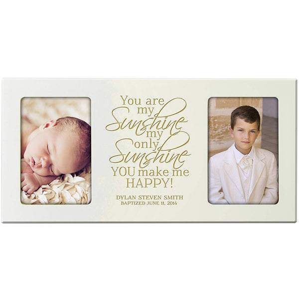 Personalized First Communion Baptism Blessings photo frame Gift Custom Christening Engraved Christening picture frame holds 2 -4x6 photos You are My Sunshine my only Sunshine You make Me Happy