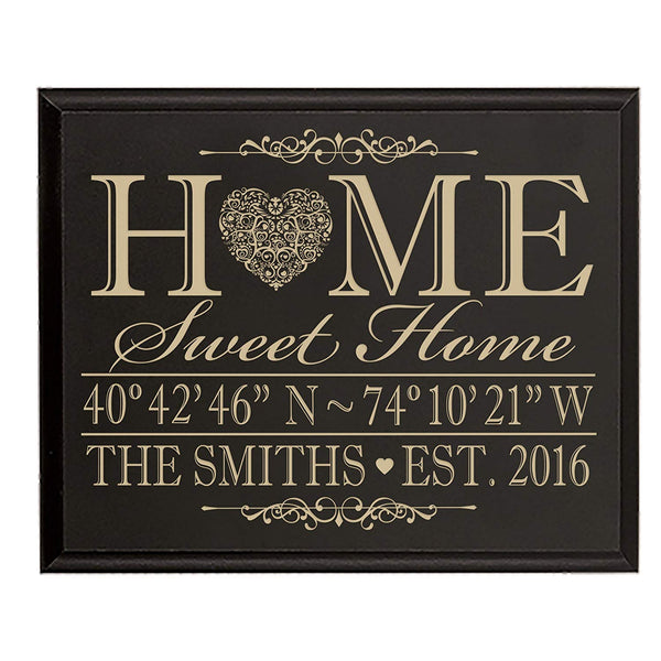 Personalized Home Coordinates Latitude Longitude Wall sign with Family last Name and Date Established Home Sweet Home by LifeSong Milestones