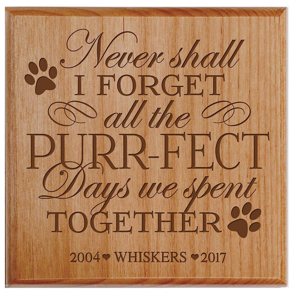 "Pet Urns SMALL Sympathy Keepsake box PERSONALIZED pet urn for ashes PURR-FECT Days We Spent Together SMALL portion of ashes 5.5"" x 5.5"" x 3.5"" inches (Alder Personalized)"