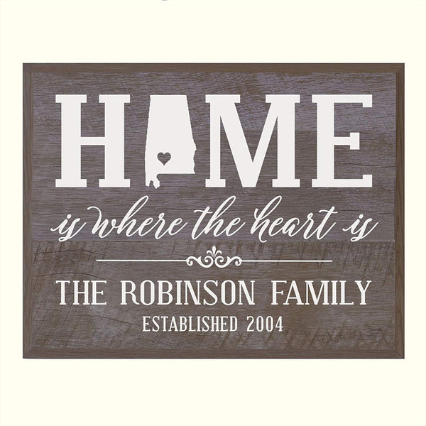 Personalized State Home is Where the heart is Wall Plaque Sign
