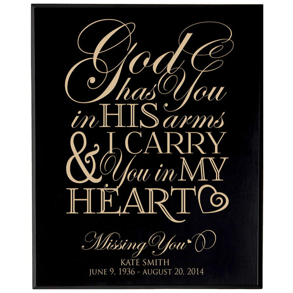Personalized Wedding Memorial Gift, Sympathy Wall Plaque, God Has You In His Arms & I Carry You In My Heart, Custom Engraved Plaque measures 12x15 by LifeSong Milestones USA Made