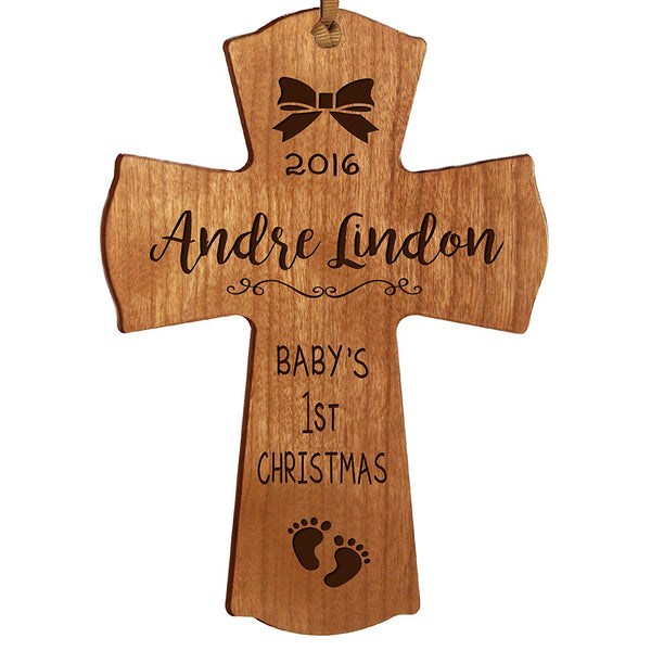 Personalized Baby's First Christmas Ornament cross New Parent gift ideas for newborn boys and girls Custom engraved ornament for mom dad and grandparents (Cherry Baby's first Christmas)