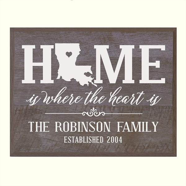 Personalized Louisiana State Home is Where the heart is Sign