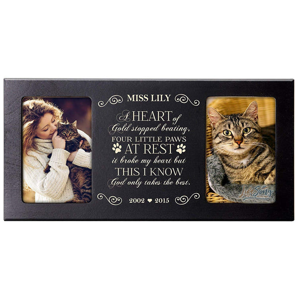 Personalized Pet Memorial Gift, Sympathy Photo Frame, A Heart of Gold Stopped Beating Four Little Paws At Rest, Custom Frame by LifeSong Milestones USA Made Holds Two 4x6 Photos