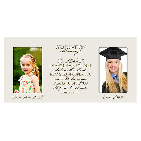 Personalized Graduation Photo Frame - For I Know The Plans I Have For You (Ivory)