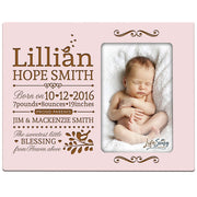 Personalized New Baby Photo Frame - The Sweetest Little Blessing Pink