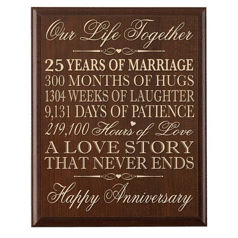 "LifeSong Milestones 25th Wedding Anniversary Wall Plaque Gifts for Couple, 25th Anniversary Gifts for Her,25th Wedding Anniversary Gifts for Him 12"" W X 15"" H Wall Plaque By"