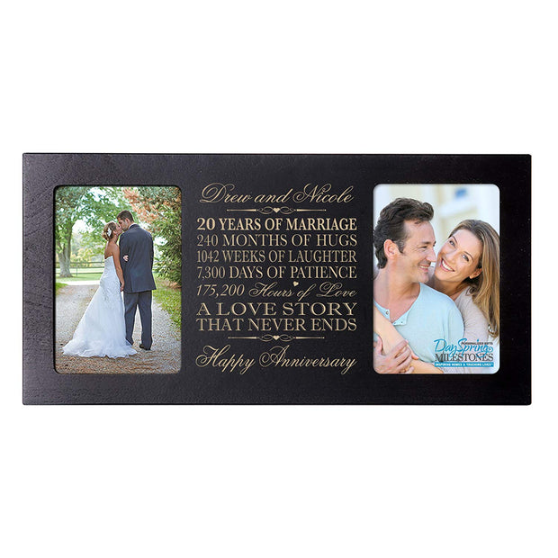 Personalized 20th Anniversary Double Photo Frame - Happy Anniversary Black