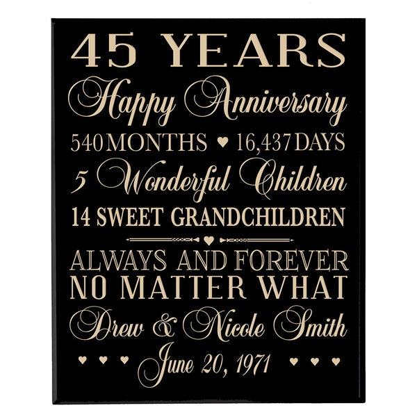 "Personalized 45th Anniversary Gifts for him her Couple parents, Custom Made 45 year Anniversary Gifts ideas Wall Plaque 12"" x 15"" By LifeSong Milestones"