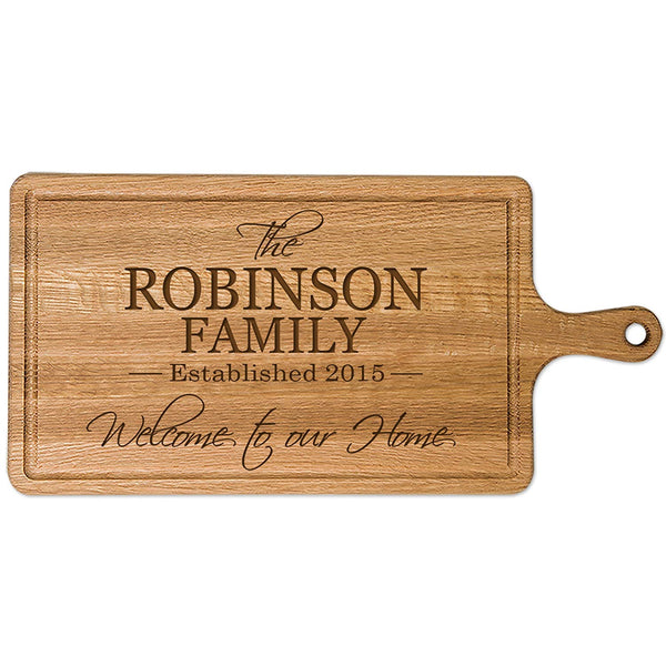 "Personalized Family Sign Cherry wood Cutting board with Established Year and Family last Name Custom Kitchen chopping block Family Gift Ideas 15.75"" x 7.5"" by LifeSong Milestones"