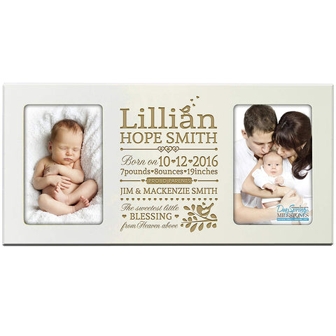 Personalized New Baby birth announcement picture frame for newborn boys and girls Custom engraved photo frame for new mom and dad parents and grandparents holds 2 4x6 photos (Ivory)