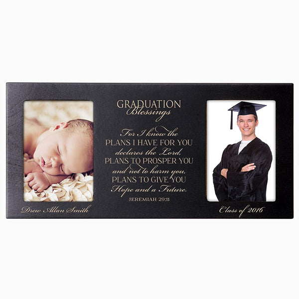 LifeSong Milestones Personalized Graduation gift for graduate ideas for men and women picture frame holds 2 4x6 photos For I know the plans I have for you Declares the Lord