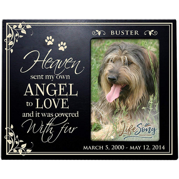 LifeSong Milestones Personalized Pet Memorial Gift, Sympathy Photo Frame, Heaven Sent My Own Angel, Custom Frame by USA Made Holds 4x6 Photo