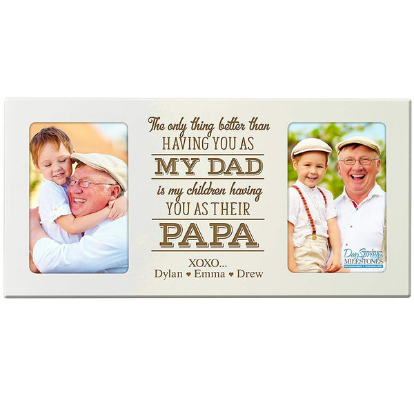 Personalized Photo Frame for Dad and Papa holds 4x6 photo