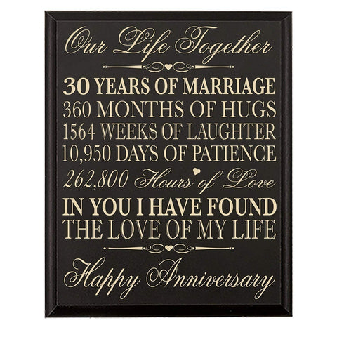 "LifeSong Milestones 30th Anniversary Gift ideas for him her Couple parents, Custom Made 30 year Anniversary Gifts ideas Wall Plaque 12"" x 15"" By (Black Veneer Wood)"
