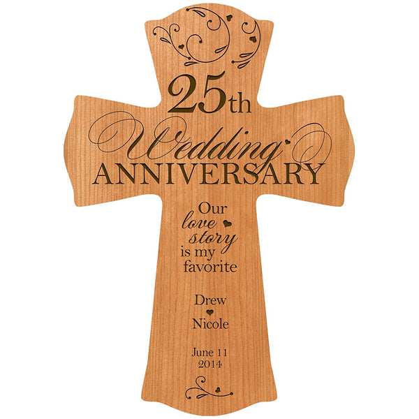 "25th Wedding Anniversary Wood Cross - Personalized ""Our Love Story is My Favorite"""