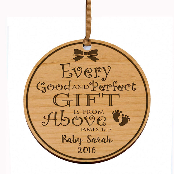 LifeSong Milestones Personalized Baby's First Christmas Ornament New Parent gift ideas for newborn boys and girls Custom engraved wooden ornament for mom dad and grandparents
