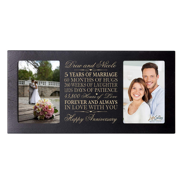 Personalized five year anniversary gift her him couple Custom Engraved wedding celebration for Husband wife girlfriend boyfriend photo frame holds two 4x6 photos by LifeSong Milestones