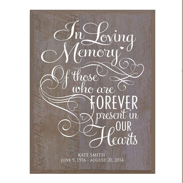 Memorial Sympathy gift ideas wall plaque In Loving Memory size 12 x 15