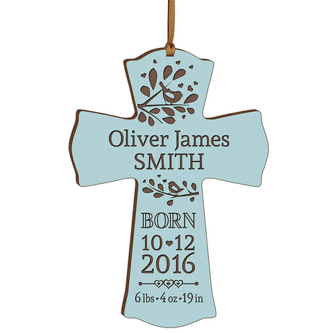 Personalized Engraved New Baby Cross Ornament - Blue