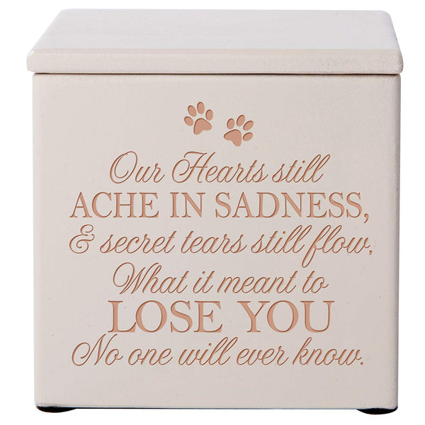 Personalized Cremation Urn/Memorial Keepsake Box for Pets – Our Hearts Still Ache