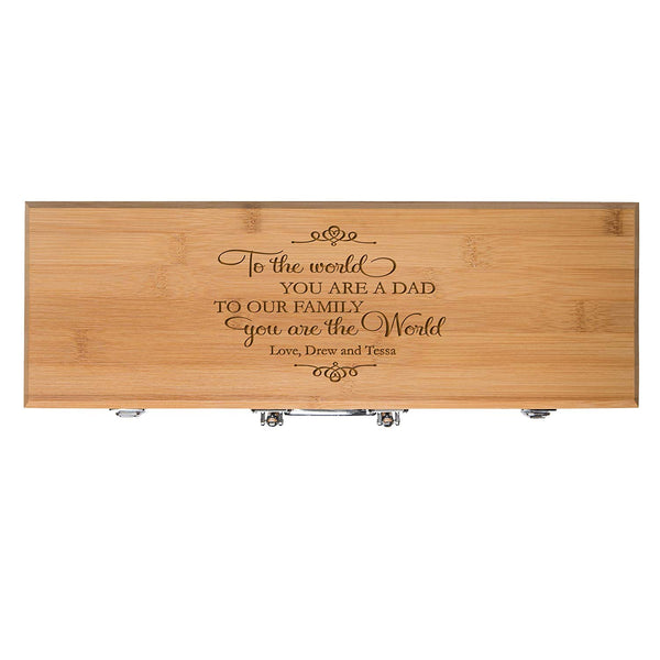 Custom Engraved BBQ Set – To the World You Are a Dad To Our Family You Are the World