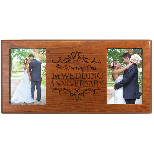 1st Wedding Anniversary Picture Frame Gift for Couple Holds 2- 4x6 Photos 8 Inches X 16 Inches from LifeSong Milestones
