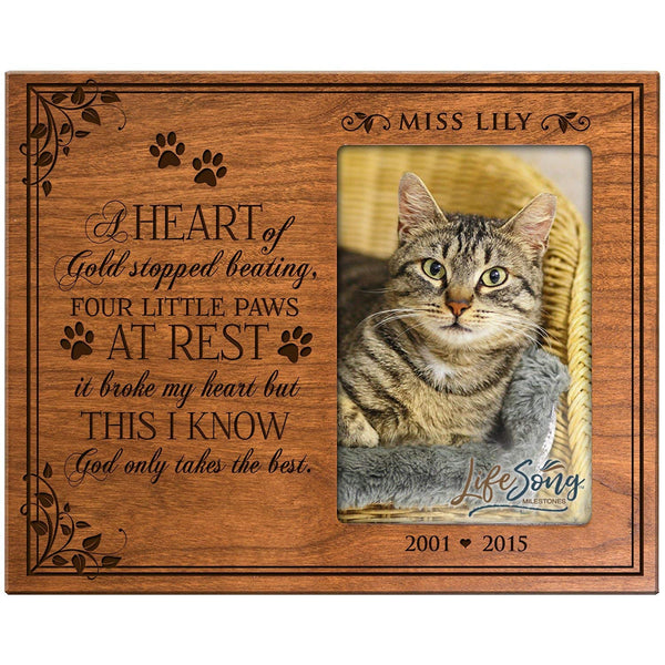 LifeSong Milestones Personalized Pet Memorial Sympathy Picture Frame A Heart of Gold Stopped Beating Four Little Paws At Rest it Broke My Heart But This I Know God Only Takes The Best Holds 4x6 Photo