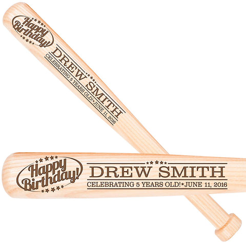 "Personalized Baseball Bat Birthday Gift 18"" X 1.75"" - Happy Birthday"