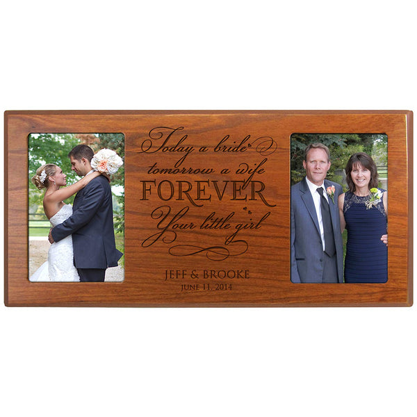 "Personalized Wedding Picture Frame Gift for Parents Bride and Groom Mom and Dad Thank-you Today a Bride Tomorrow a Wife Forever Your Little Girl 16"" x 8"" From LifeSong Milestones"