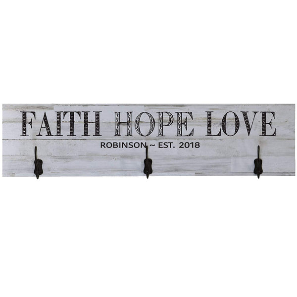 Personalized Faith Hope Love Coat Rack Wall Sign