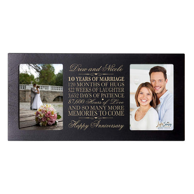 Personalized 10th Anniversary Double Photo Frame - Happy Anniversary Black