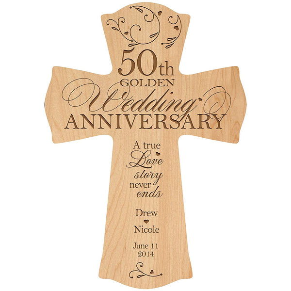 Personalized 50th Wedding Anniversary Wood Wall Cross Gift for Couple 50 year Anniversary Gifts for Her, Anniversary Gifts for Him A True Love Story Never Ends