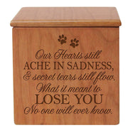 Pet Memorial Cremation Urn - Our Hearts Ache