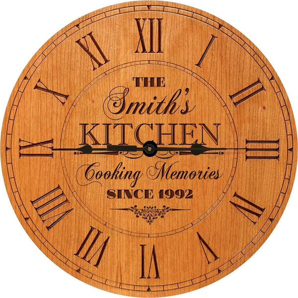 "Kitchen Wedding Clock or Anniversary Clock Personalized Wedding Gift Anniversary Gift Housewarming Gift "" Monogram Initial Clock (Cherry)"