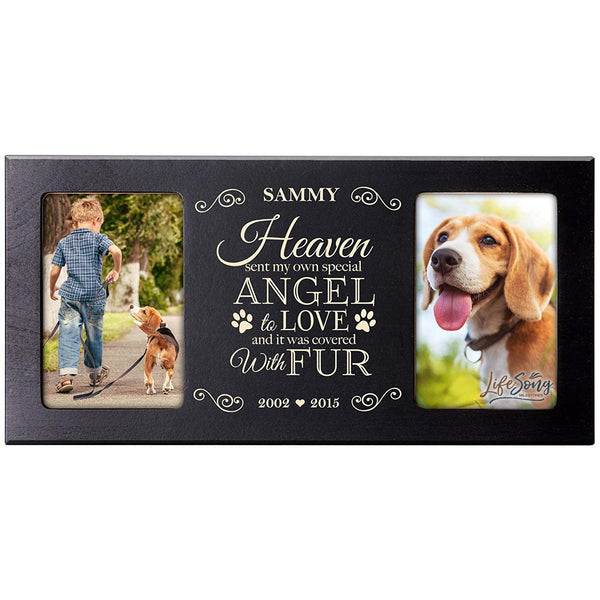 Personalized Pet Memorial Gift, Sympathy Photo Frame, Heaven Sent My Own Special Angel to Love and It Was Covered With Fur, Custom Frame by LifeSong Milestones USA Made Holds Two 4x6 Photos