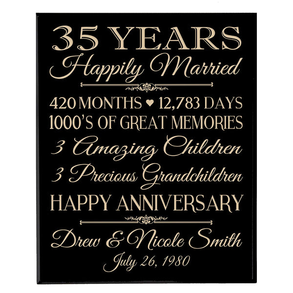 "Personalized 35th Anniversary Gifts for him her Couple parents, Custom Made 35 year Anniversary Gifts ideas Wall Plaque 12"" x 15"" By LifeSong Milestones"