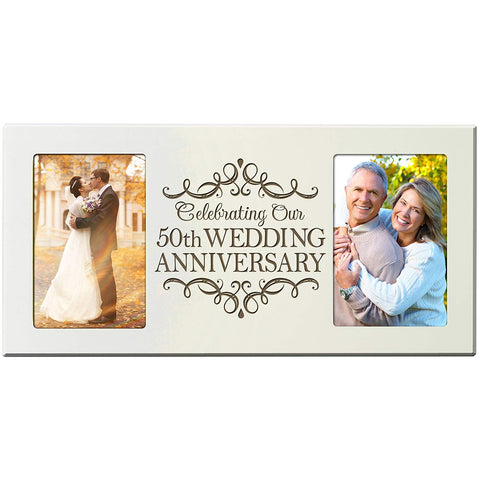 LifeSong Milestones 50th Anniversary Parent Wedding Gift 50th Wedding Anniversary for Couple Picture Frame Size 16 Inches Wide X 8 Inches High Holds 2- 4x6 Photos