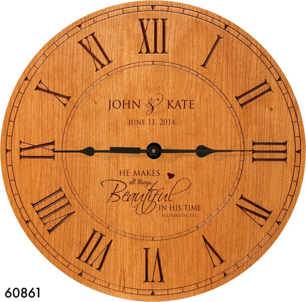 "Wedding Gift , Anniversary Gift Personalized clock, Housewarming Gift, "" He Makes All Things Beautiful in his time"" Cherry Wood Exclusively made For DaySpring Milestones Proudly made in USA"