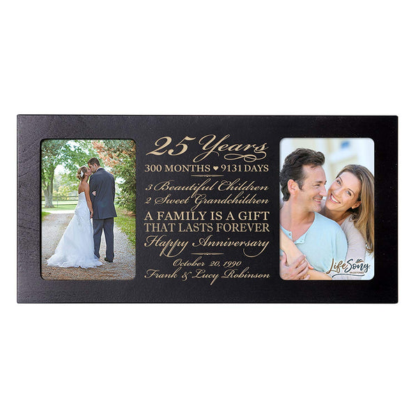 Personalized 25th Year Anniversary Double Photo Frame Black