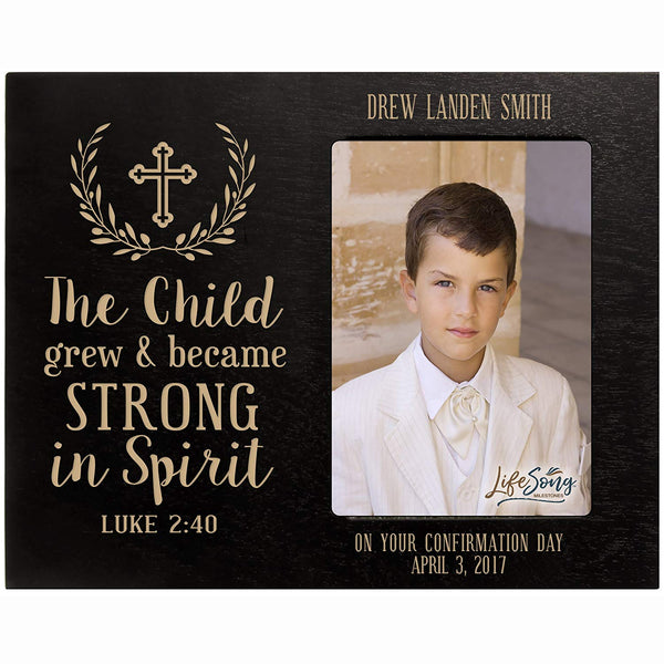 Personalized gift for Godparents from Godchild Baptism Photo Frame The Child grew and became STRONG IN SPIRIT Luke 2:40 Maple picture frame holds 4x6 photo