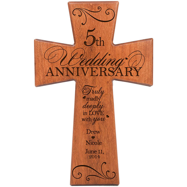 Personalized 5th Wedding Anniversary Cherry Wood Wall Cross Gift for Couple 5 year Anniversary Gifts for Her, Silver Anniversary Gifts for Him Truly Madly Deeply in Love with You