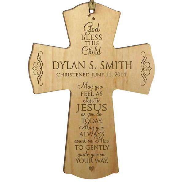 "LifeSong Milestones Personalized Baptism 1st Holy Communion Christening Wall Cross Decoration May You Feel As Close to Jesus (4.5"" x 6"", Maple)"