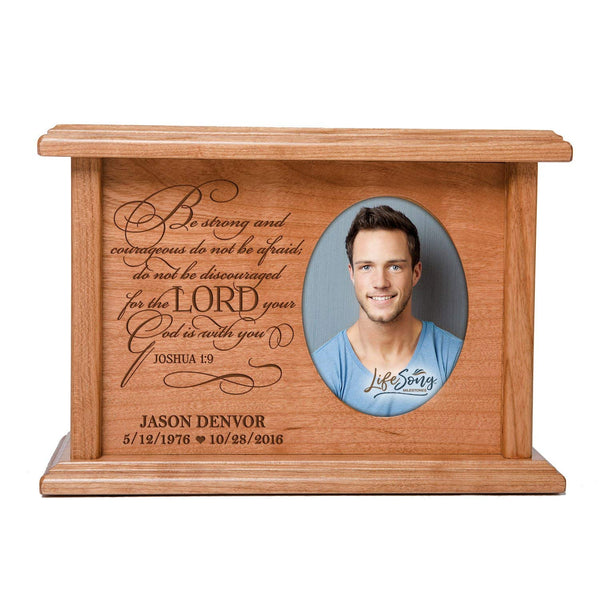 Cremation Urns for Human Ashes SMALL Memorial Keepsake box for cremains, personalized Urn for adults and children ashes Be strong and courageous...Joshua 1:9 SMALL portion of ashes holds 2x3 photo