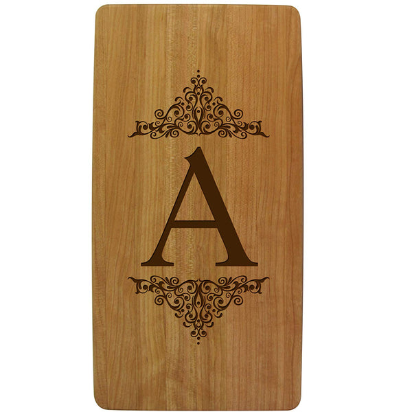 wooden personalized cutting board with family initial last name monogram anniversary gift