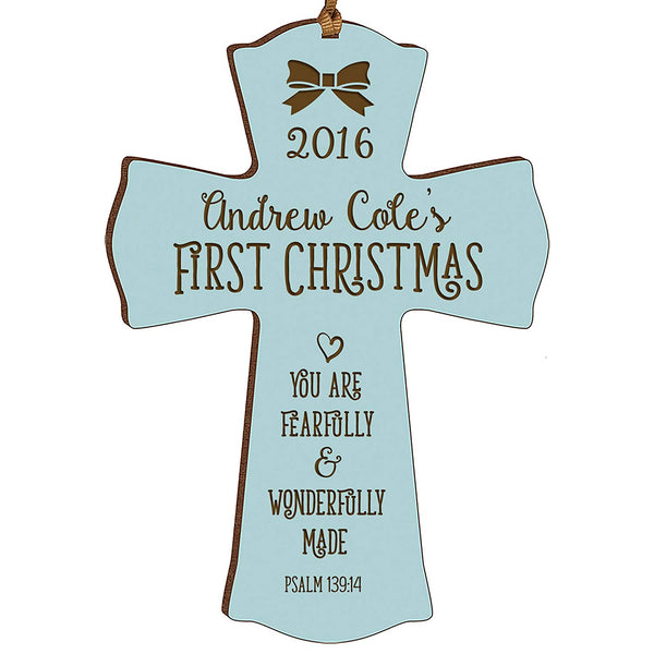 Personalized Baby's First Christmas Ornament cross New Parent gift ideas for newborn boys and girls Custom engraved ornament for mom dad and grandparents (Blue Fearfully and wonderfully made)
